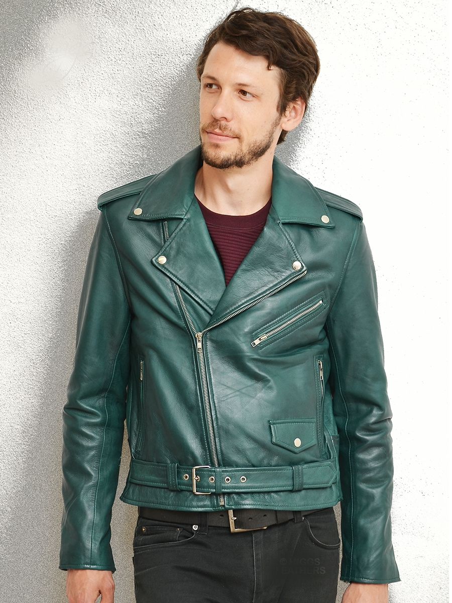 brandzee teal shade biker leather jackets for men