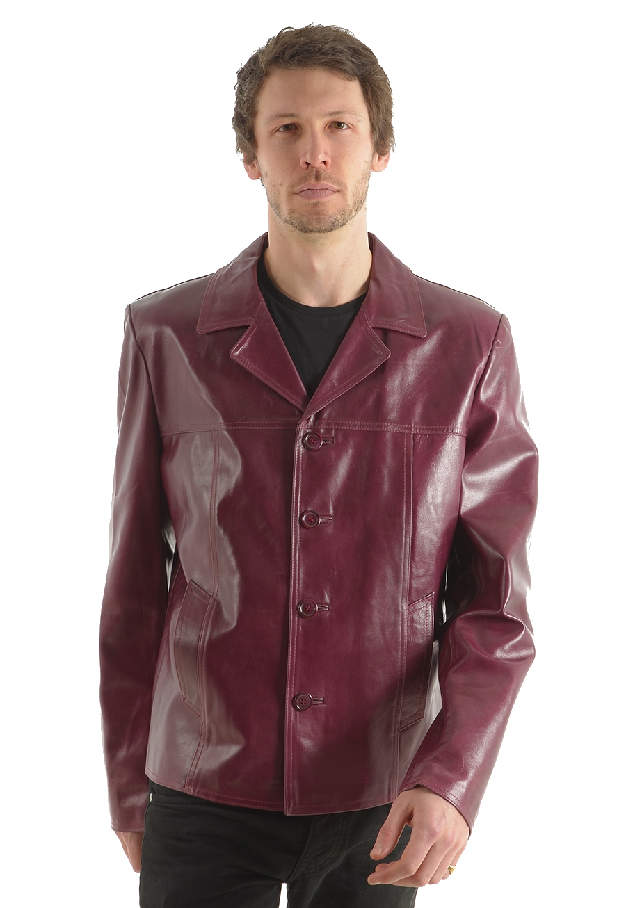rainer mens burgundy leather reefer jacket