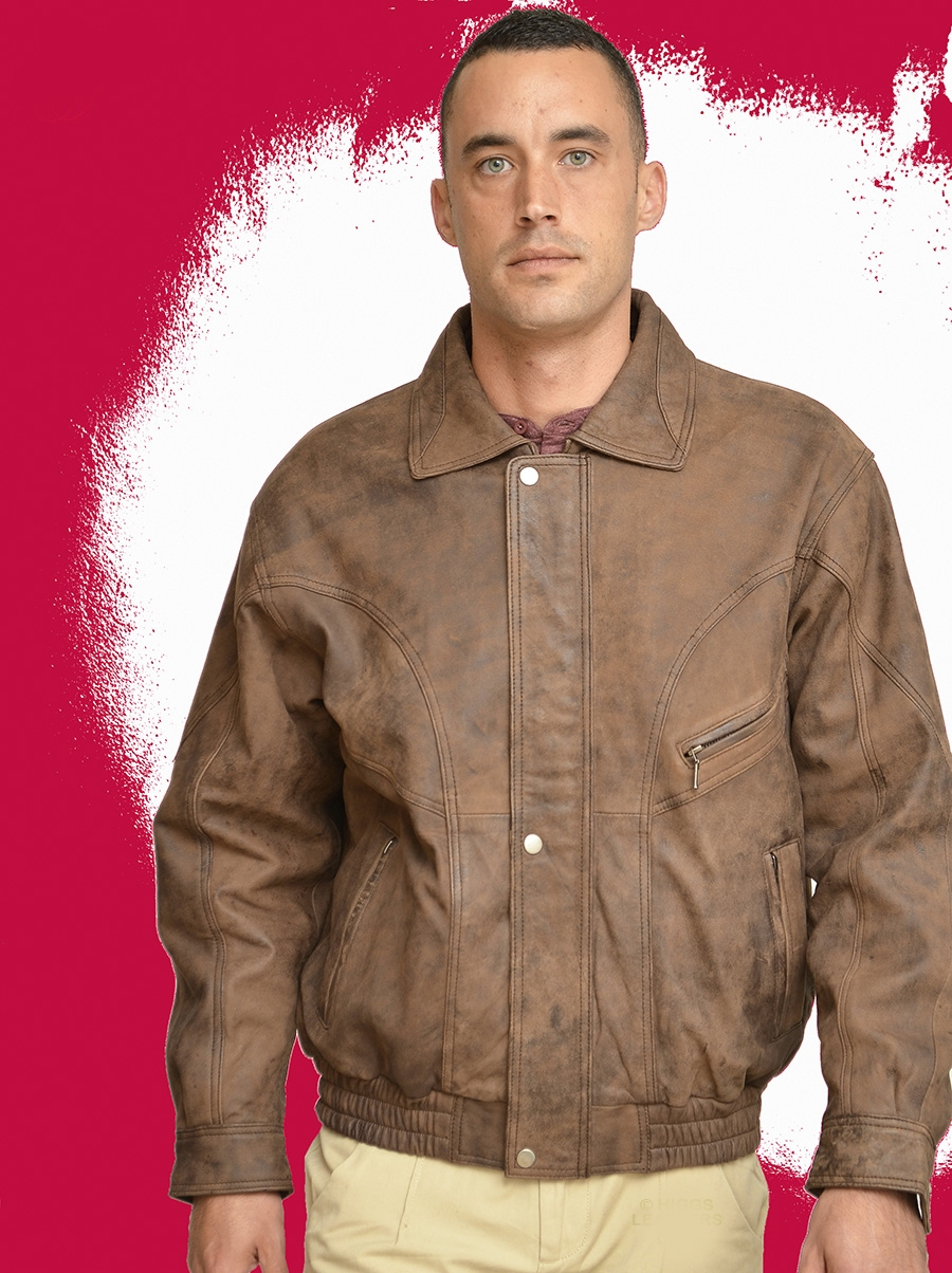 roy brown nubuck leather blouson jackets