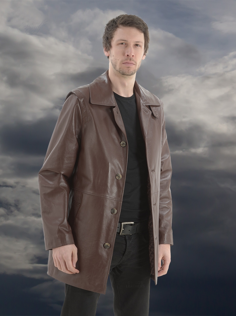 toby mens brown designer leather jackets