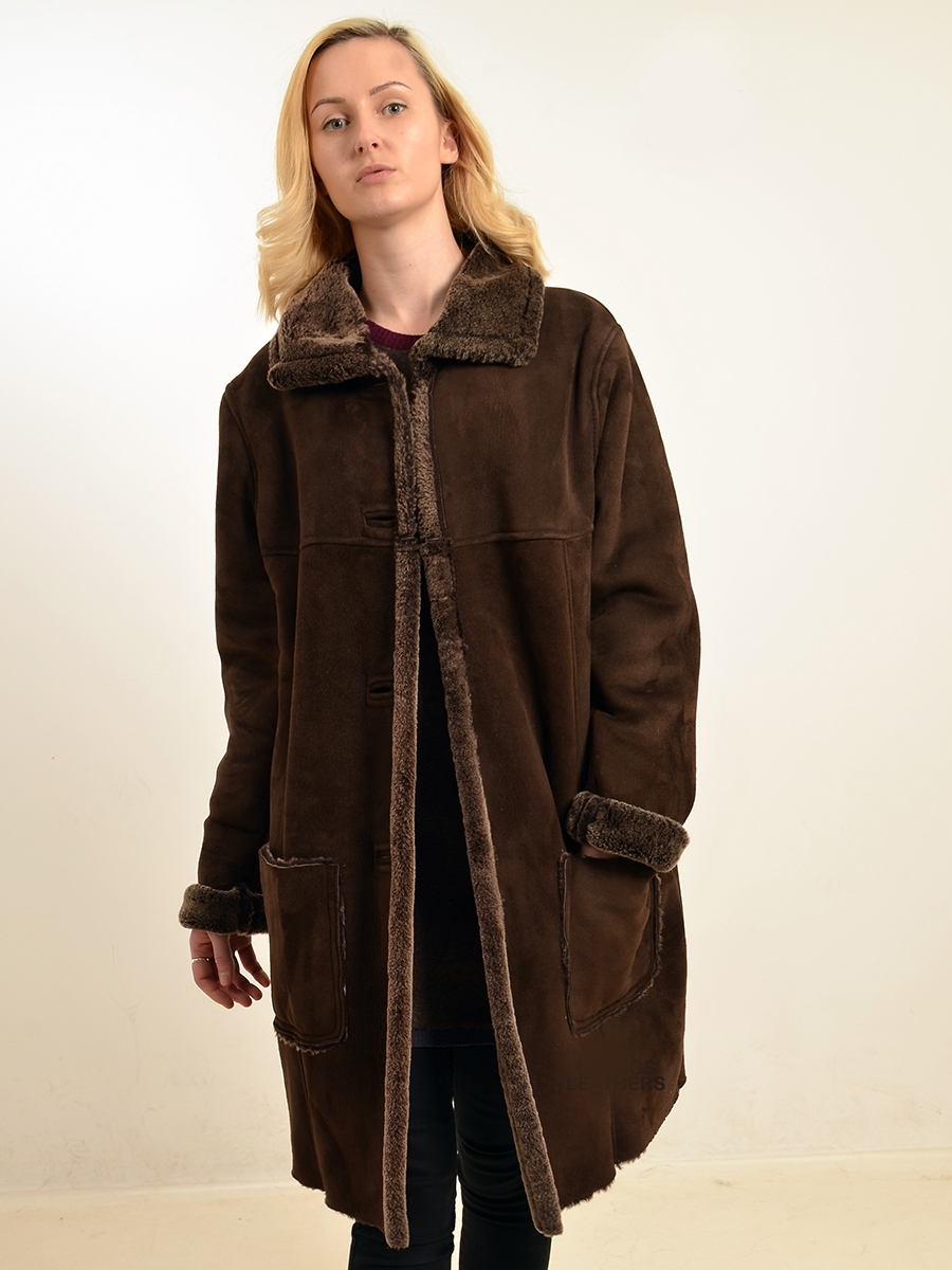 batina wones brown shearling coat