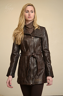 Higgs Leathers Kazzi (ladies Brown Designer Leather jackets)