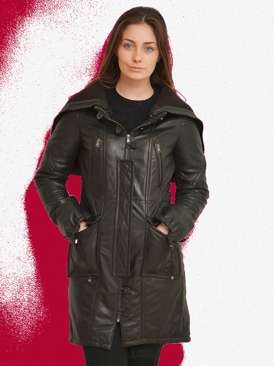 Higgs Leathers {SOLD!}  Labeeba (ladies Hooded Designer Leather Parka) From our selection of ladies Designer Leather coats!