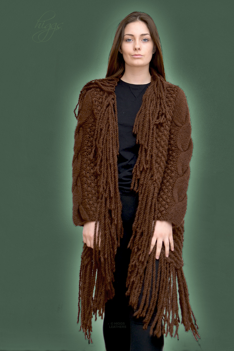 Higgs Leathers {HALF PRICE SAVE £83!}  Paris (ladies Designer Knitwear fringed coats) Free size - fits size 32' to 40' bust