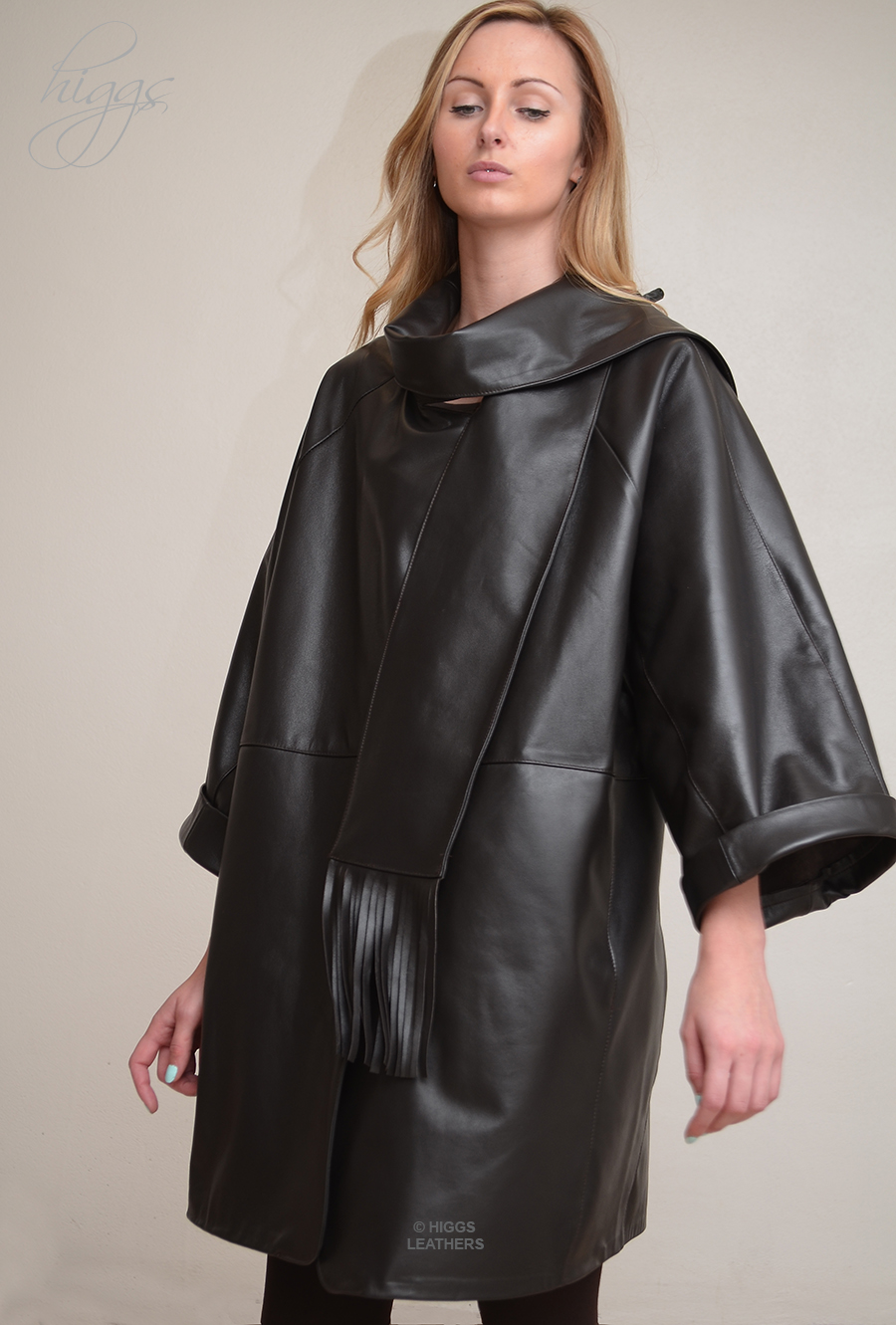 Higgs Leathers ALL SOLD!  Roma (ladies Designer Black Leather scarf coats) Superb Designer Leather coats!