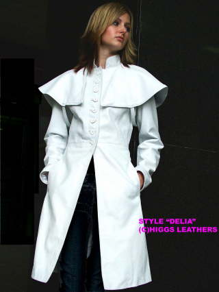Higgs Leathers NEW STOCK!  Delia (special quality Lamb Nappa caped 3/4 coat)