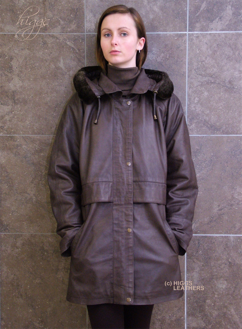Higgs Leathers LAST ONE! Lenore (womens Brown Leather Duffel coats) Exceptionally soft - Exceptionally warm!