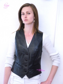 Higgs Leathers Ronette (ladies black leather waistcoats)