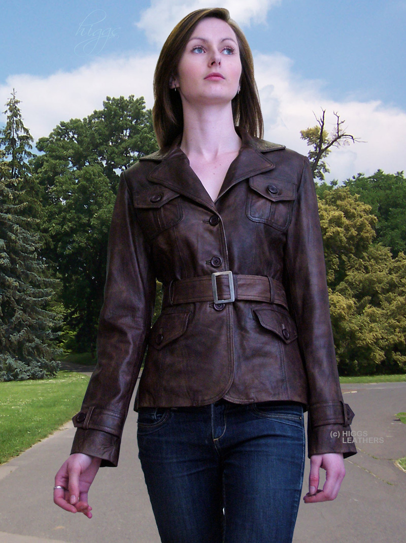 Higgs Leathers LAST TWO!Bessie (ladies belted leather jackets)