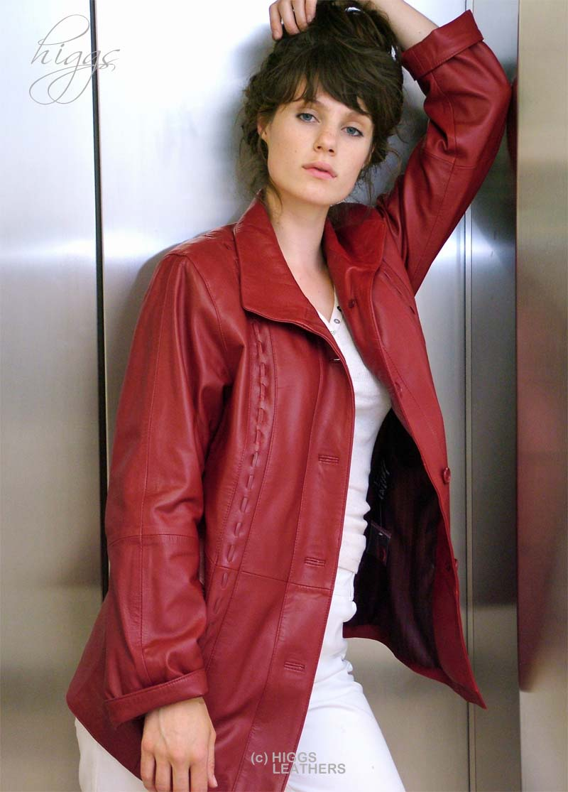Higgs Leathers Harriet (3/4 length ladies Red Leather jackets)