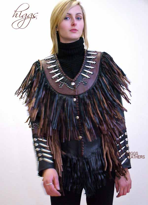 Higgs Leathers LAST ONE! Pow Wow! (women's Fringed black leather jackets) Wow!