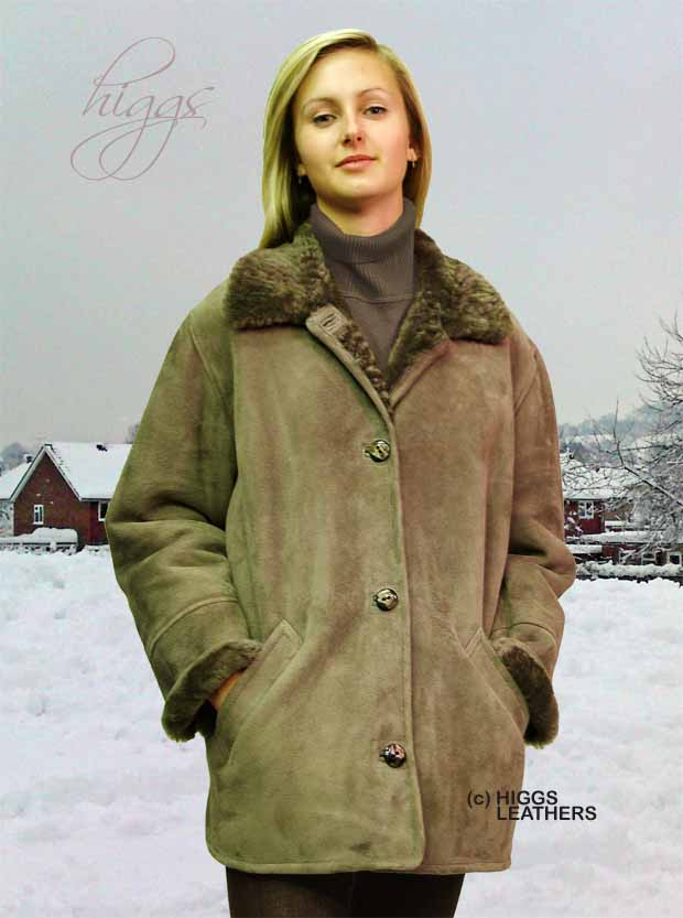 Higgs Leathers Boxy (ladies Sueded Shearling jacket) Casual classic!