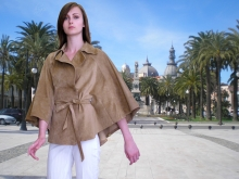 Higgs Leathers Maria (ladies fawn suede cape jackets)