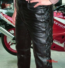 Higgs Leathers Lacko (laced side mens black leather trousers)ALL SOLD!