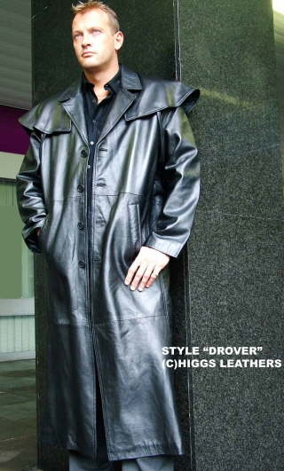 Higgs Leathers {LAST TWO!}  Drover (mens black Leather Cape Coats)