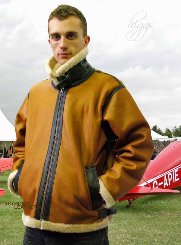 Higgs Leathers British Bomber (mens Merino Shearling flying jacket)