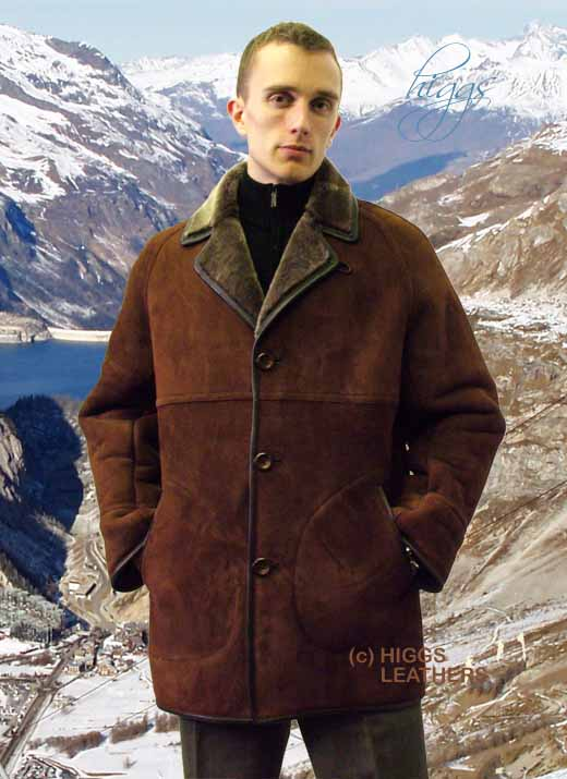 Higgs Leathers Essex (3/4 length men's Shearling coats)