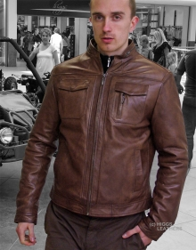 Higgs Leathers ALL SOLD! Brent (short zip style men's Brown Leather jackets)