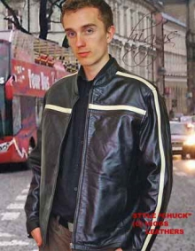 Higgs Leathers LAST FEW! Chuck (Striped mens Black Leather jackets)