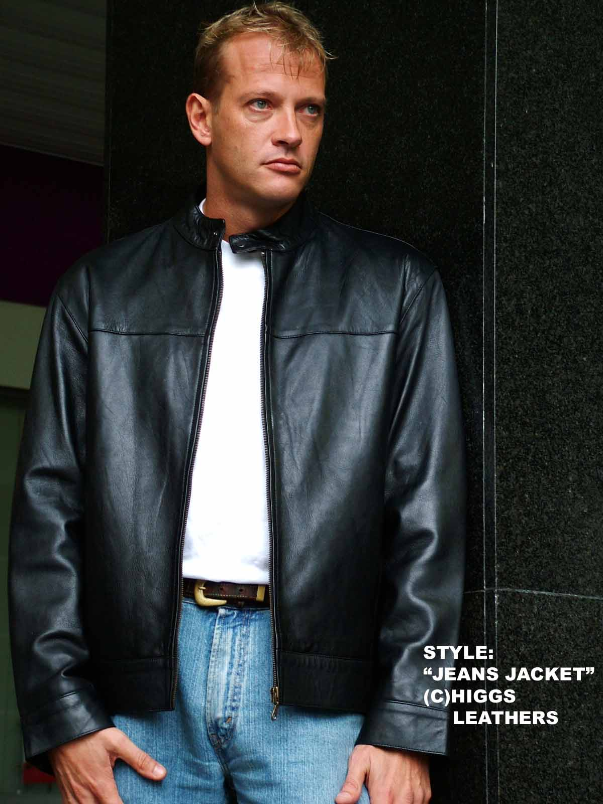 Higgs Leathers {NEW STOCK!}  Judd  (Jeans style men's black leather jackets)