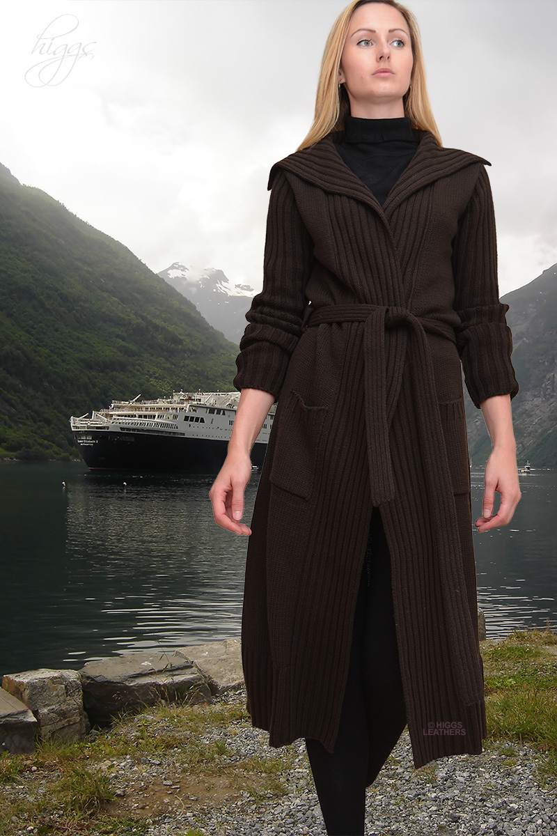Higgs Leathers {HALF PRICE!}  Fredrika (ladies tie belted Knitwear coats) Great value - Great style!