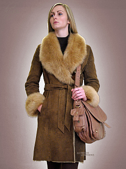 Higgs Leathers SAVE 200!  Columbia (ladies belted Shearling coats)