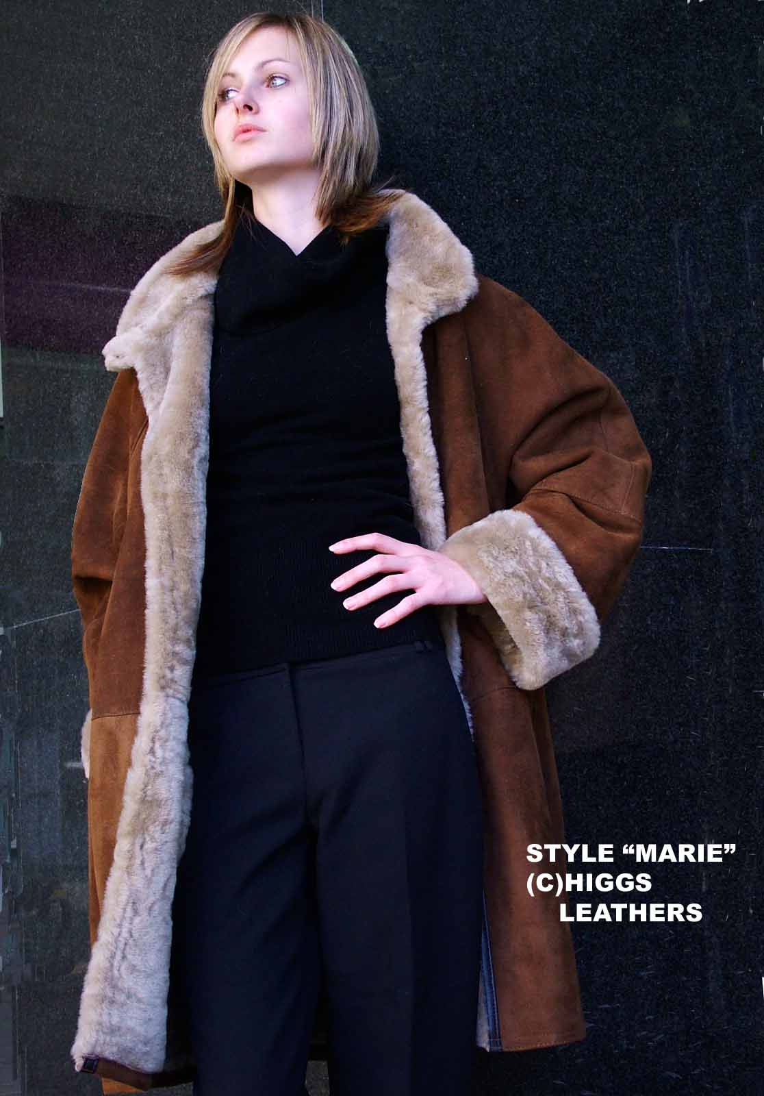 Higgs Leathers Marie (3/4 length ladies swingback Merino Lambskin coats) Sizes 36' to 50' bust!