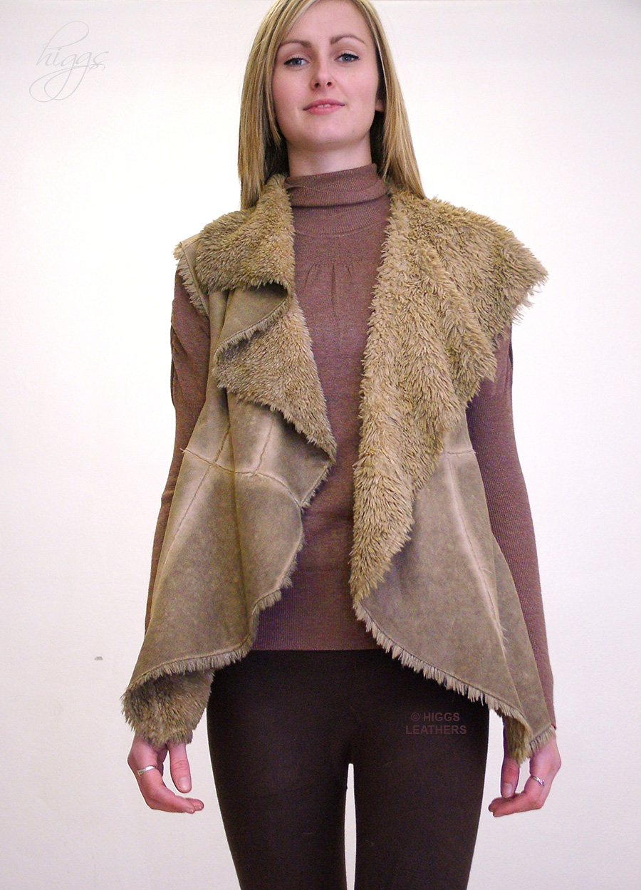 Higgs Leathers {HALF PRICE!}  Chi Chi (ladies oversized Faux Sheepskin gilets) New generation 'Sheepskin' designs!