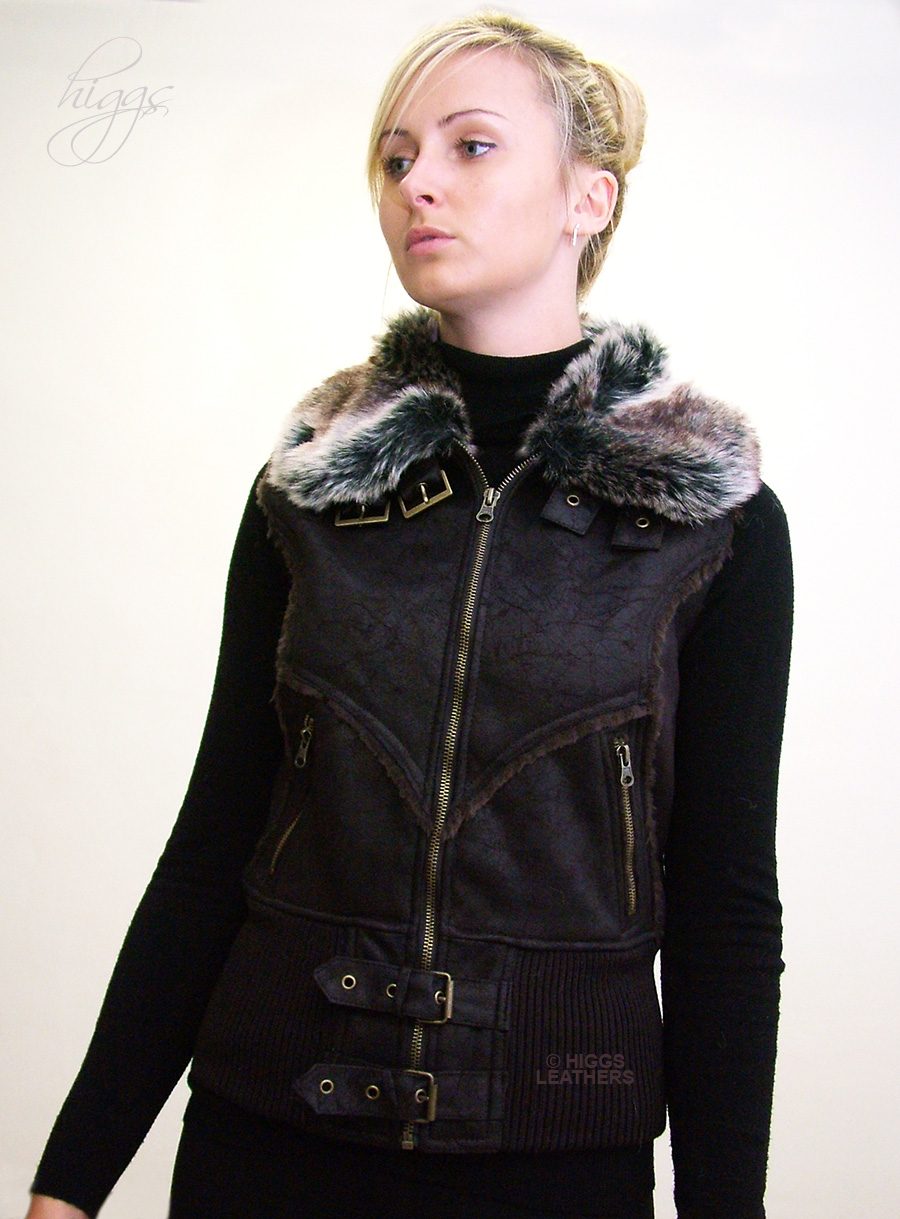 Higgs Leathers {SOLD!}  Gilotta (ladies Faux Sheepskin gilets) FEW ONLY - SIZES 32' AND 34' BUST