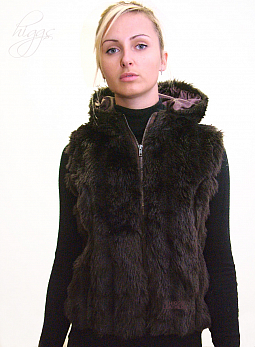 Higgs Leathers {UNDER HALF PRICE!} Gricie (ladies Hooded Faux Fur Gilets) FEW ONLY - EXTRA SMALL SIZES!