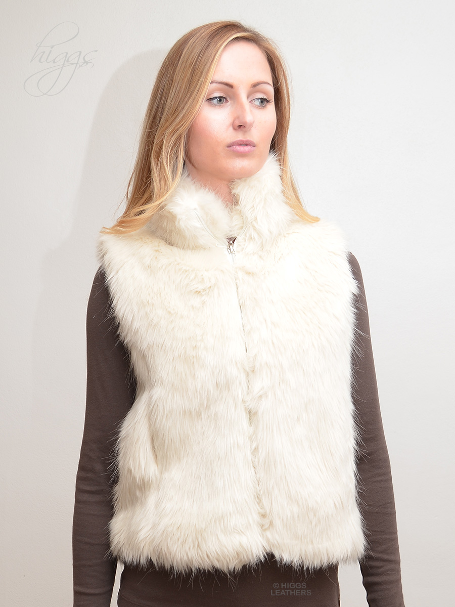 Higgs Leathers {HALF PRICE!}  Magda (ladies White Faux Fur gilets) ALL SOLD - SIZE 8 TO 10 - HALF PRICE!