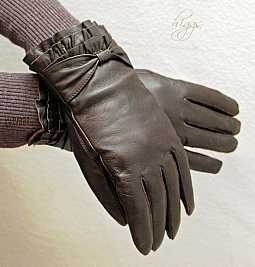Higgs Leathers STYLE 74003 -  (ladies pleated wrist Brown Leather gloves)
