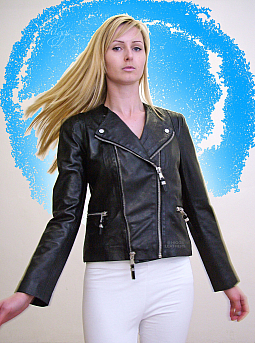 Higgs Leathers LAST ONE! Becky (ladies Designer Black Leather Biker jackets)