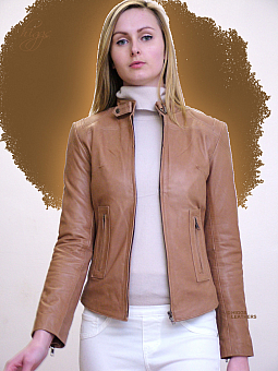 Higgs Leathers Betty (ladies Beige Leather Bikers jackets)