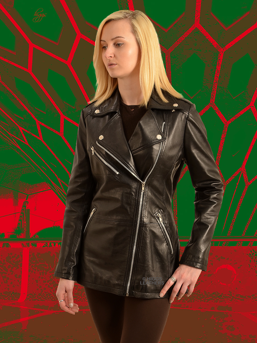 Higgs Leathers {ONE ONLY SAVE £80!}   Bindi (ladies long Black Leather Biker jackets)