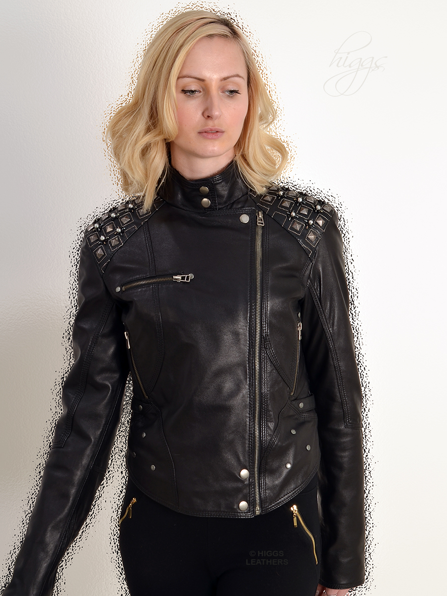 Higgs Leathers {SOLD!}  Blythe (ladies Designer Black Leather Biker jacket) From our wide range of Black Leather Biker style jackets for women!