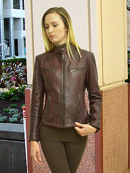 Higgs Leathers FEW ONLY NEW STOCK!  Libby (ladies Wine Leather Biker jackets)