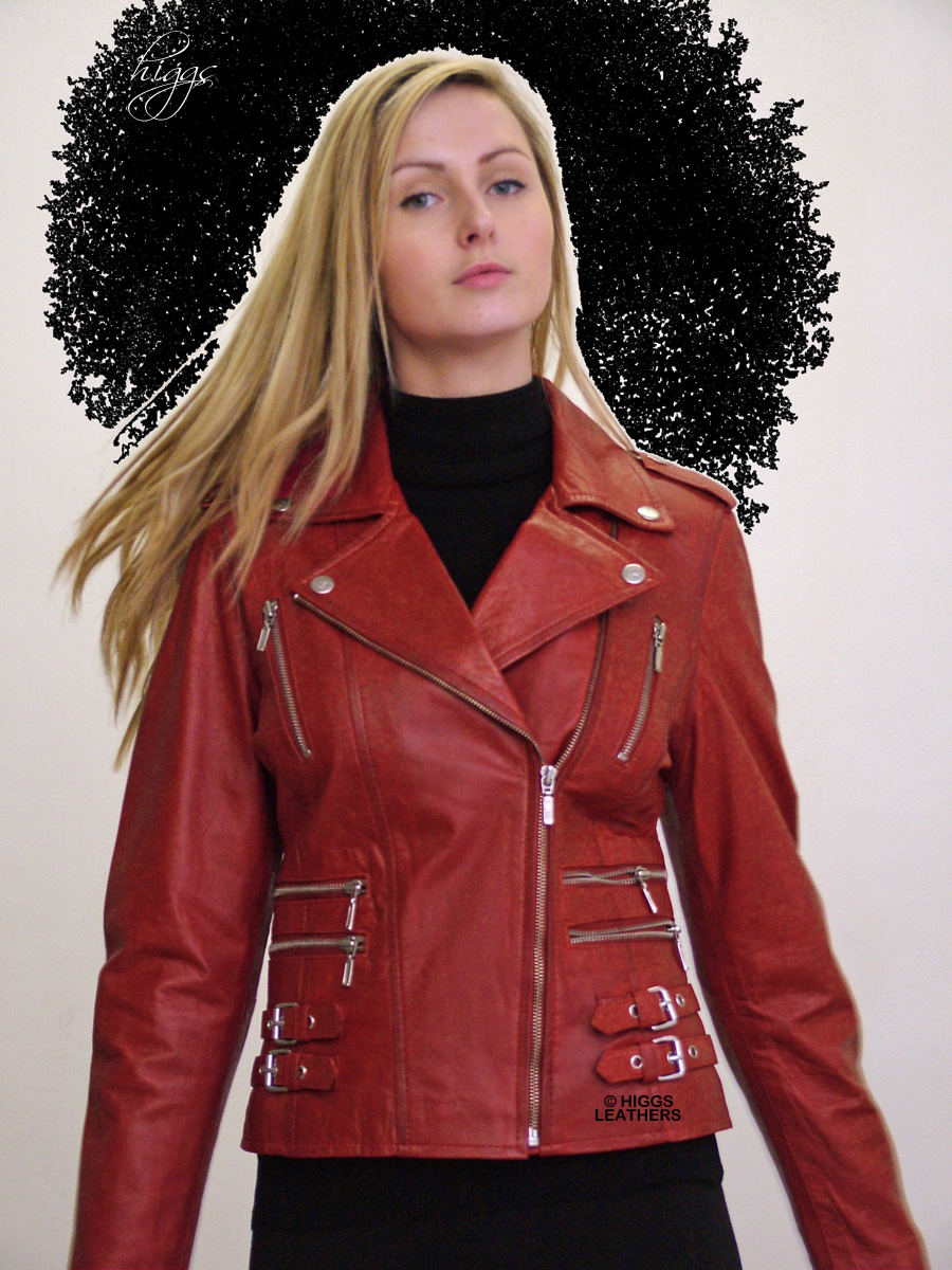 Higgs Leathers {Few only!}  Lolita (ladies leather Biker jackets) Special Offer! SIZES UP TO 42' BUST !