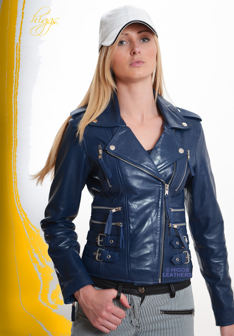 Higgs Leathers   Lolita (ladies Black Leather Biker jackets) SIZES UP TO 42' BUST !