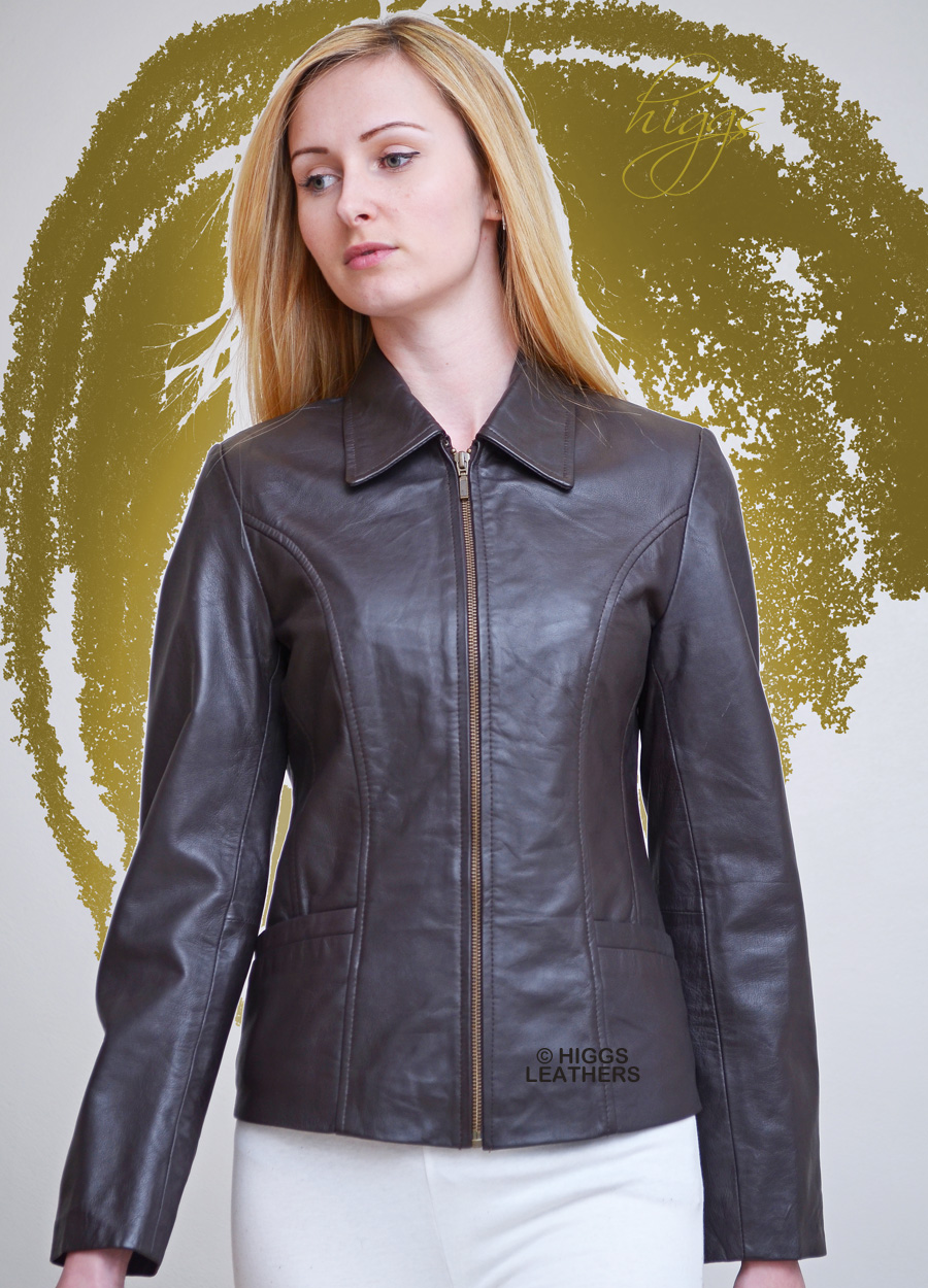 Higgs Leathers ONE ONLY!  Olivia (ladies Chocolate Leather Biker jackets)
