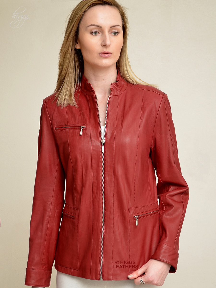 Higgs Leathers HALF PRICE!  Saba (ladies Red Leather jacket) ONE ONLY SIZE 32' BUST!