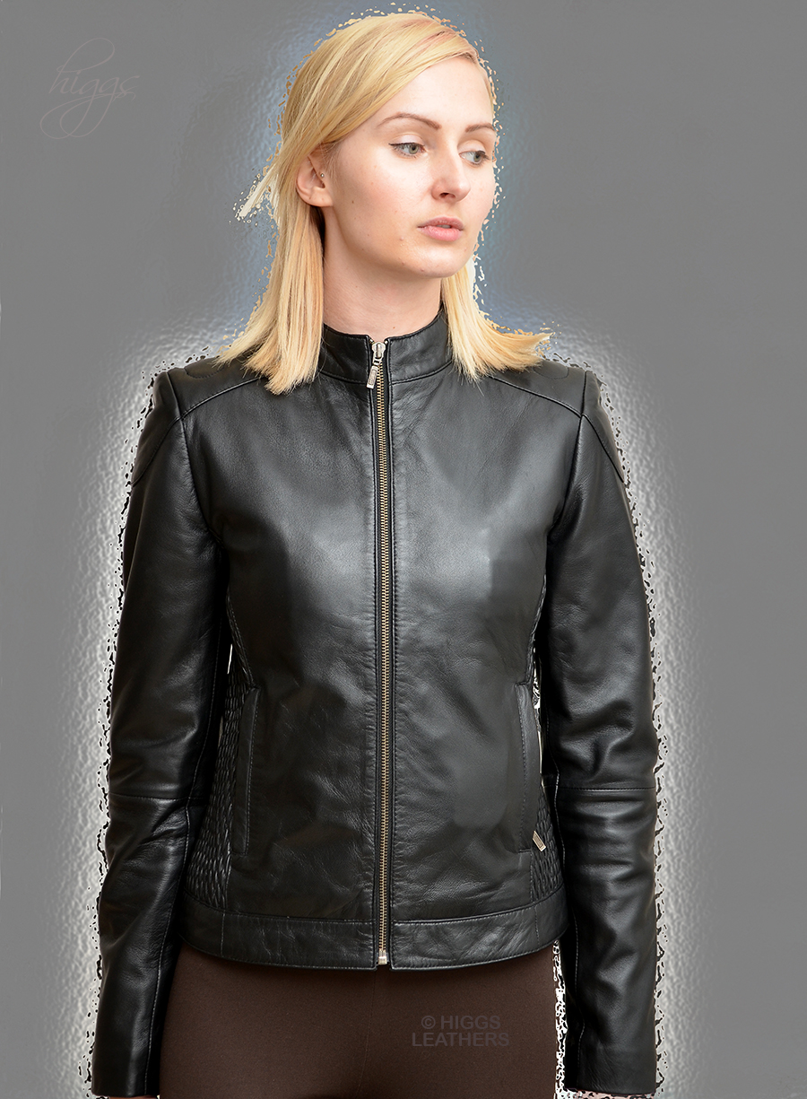 Higgs Leathers {NEW!}  Susan (ladies Stretch Black Leather Biker jackets) From our wonderful selection of Biker style Leather Jackets for women!