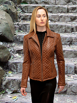 Higgs Leathers LAST ONE -  HALF PRICE!  Toutou (ladies Tan Leather Biker jacket)
