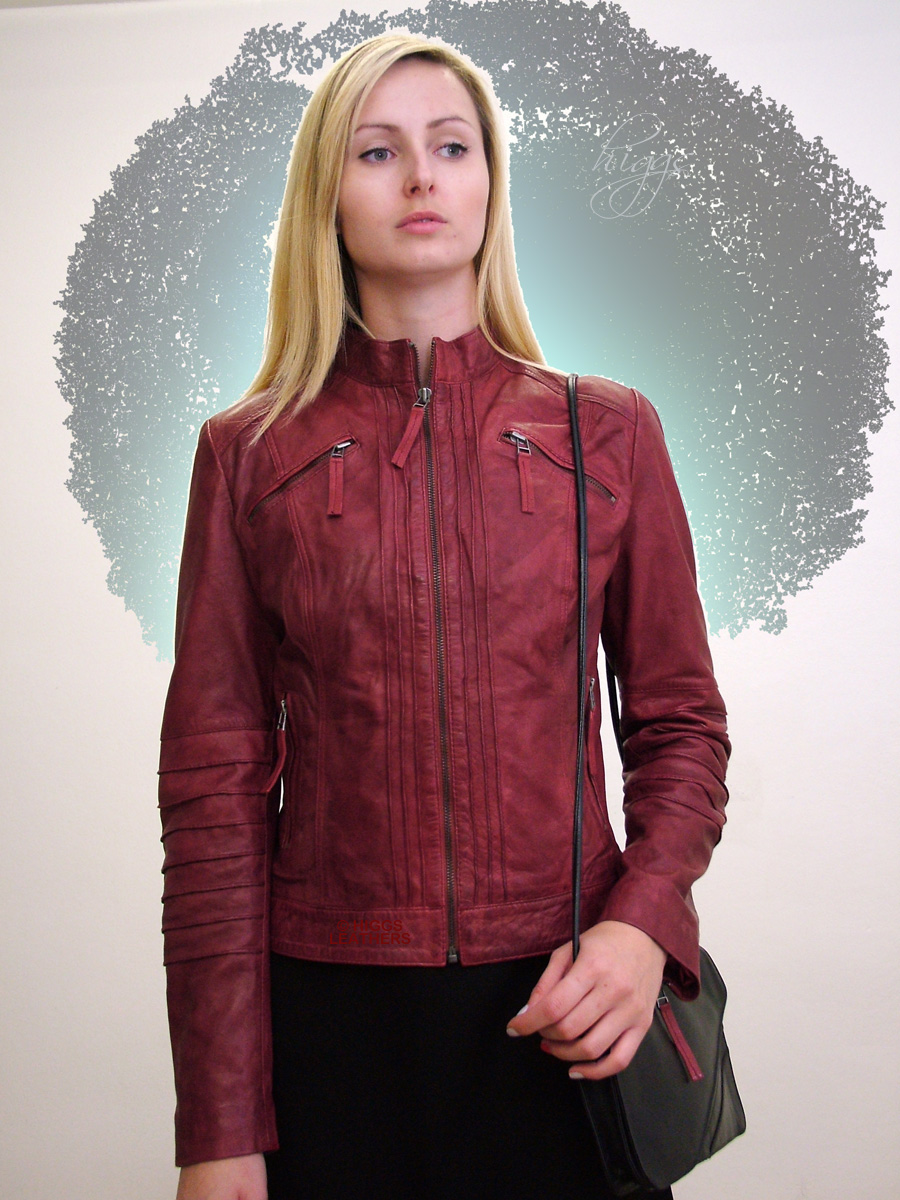 Higgs Leathers {LAST FEW!}  Trudie (ladies Red Leather Biker jackets)
