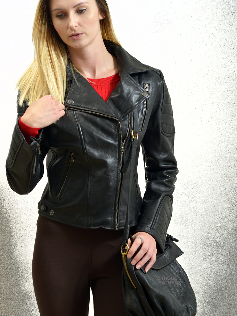 Higgs Leathers {ONE ONLY!}  Zuza (ladies Black Leather Biker jackets)