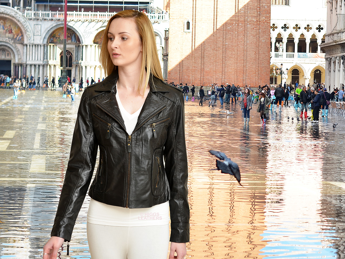 Higgs Leathers {ALL SOLD!}  Zoya (ladies Black Leather Biker jackets) ALL SOLD - SAVE £50!