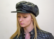 Higgs Leathers Last Few!  Babita (Ladies Black Leather Baker Boy hats)