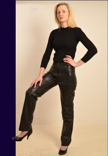 Higgs Leathers LAST FEW!  Perdy (ladies Black Leather jeans)