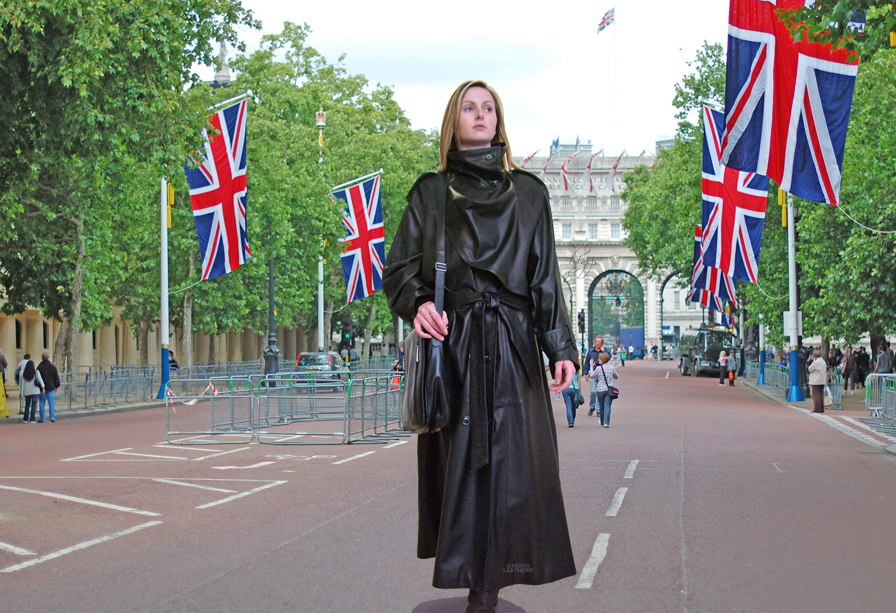 Higgs Leathers Charlotte (ladies Designer Black Leather Trench coats) Put out the flags for the...........