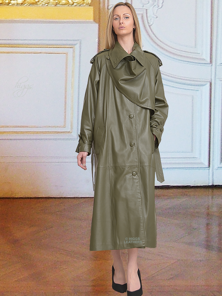 Higgs Leathers   Charlotte (women's Designer Green Leather Trench coats) World's Finest Leather Trench Coats?